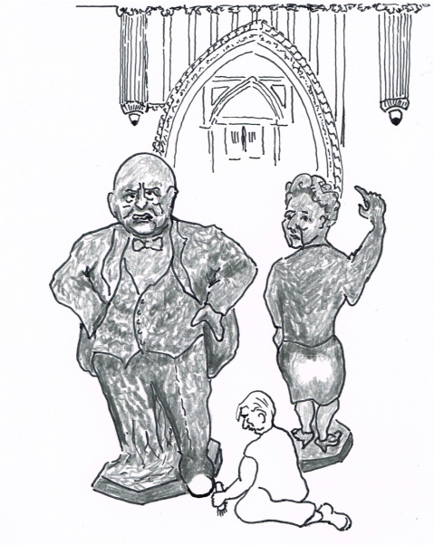 Statues of British  Prime Ministers Churchill and Thatcher are showing signs of wear because M.P.s  touch the statues for luck when entering the House of Commons