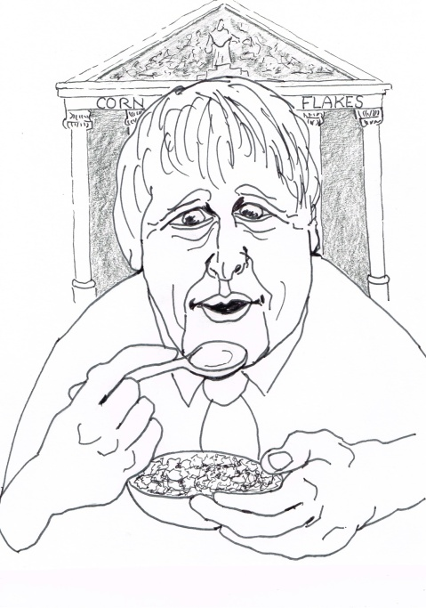 "London Mayor Boris proclaims that the ""cornflakes"" with high IQs are bound to rise to the top when you ""shake the box""in a lecture at the Thatcher"