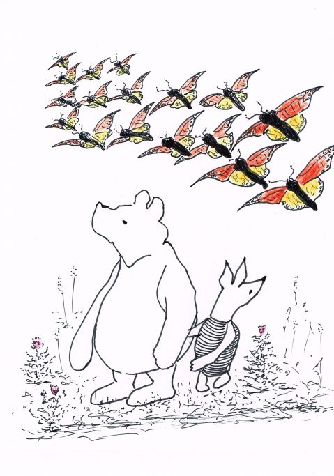 "Winnie the Pooh turns 100 August 24th. ""Don't worry Piglet. Christopher Robin is going to bomb the crap out of that Heffalump"""