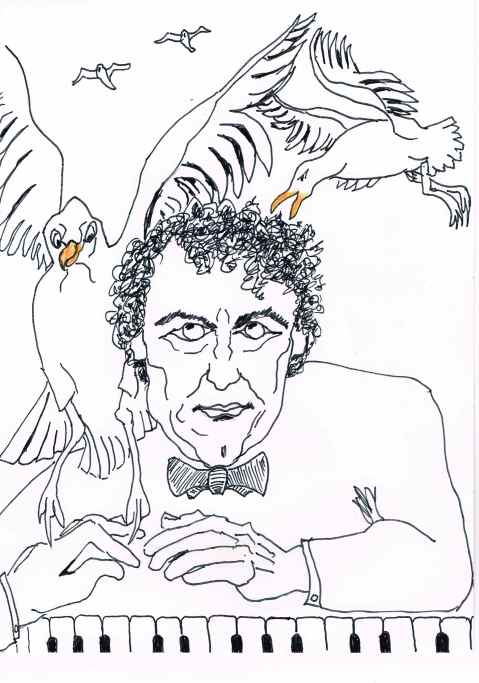 Concert pianist Paul Lewis had to cancel his performance of Mozart and Schumann concerto's after being attacked by a seagull. Chaiko=  seagull [Russian.]