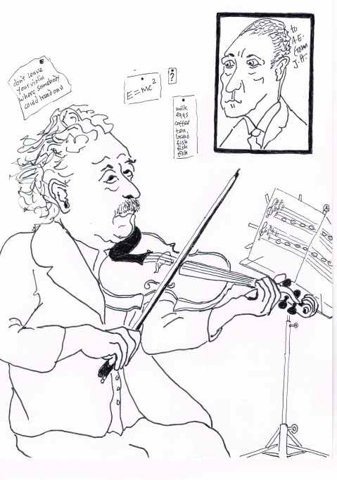 Einstein stumbles upon his theory of relativity while practising his Fsharp and Gflat major scales.