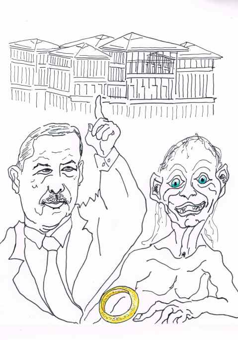 Posted photographs that appeared to liken president Erdogan to Gollum have prompted arguments in the Turkish courts about good and evil.