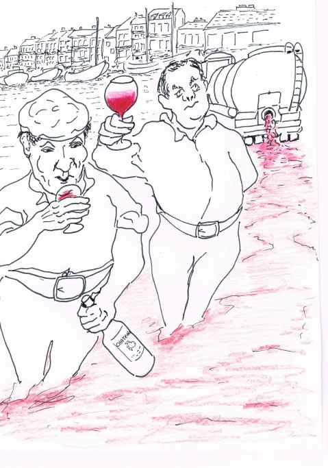 Sabateurs released 50,000 litres of cheap imported wine to protect the local vintage in Sete,France.